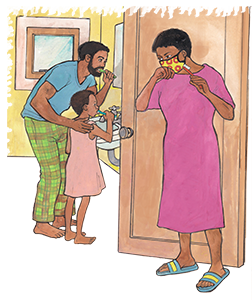 PACK Home - dad and daughter brushing teeth