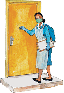PACK Home - community health worker knocking at door