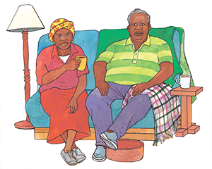 PACK Home - Elderly couple sitting on couch