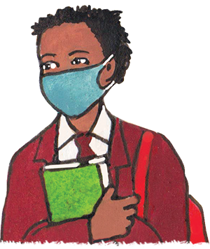 PACK Home - school girl wearing mask