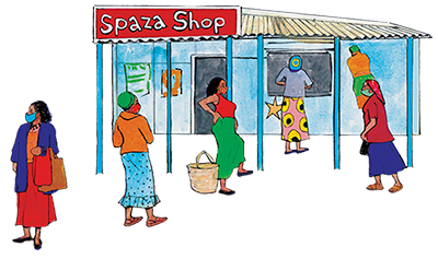 PACK Home - social distance queue at spaza shop