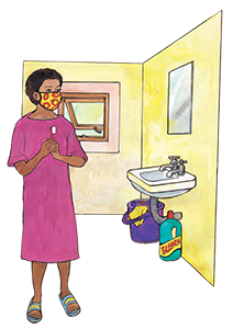 PACK Home - woman in home bathroom