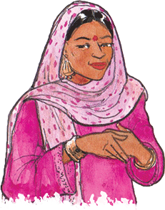PACK Home - woman in pink headscarf